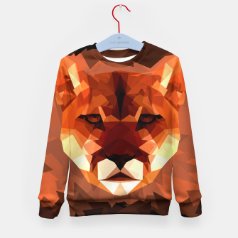 Cougar head, wild animal poly print  Kid's sweater miniature