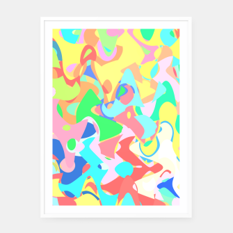 Thumbnail image of Chaotic vision, vibrant colors and shapes, funny mess Framed poster, Live Heroes