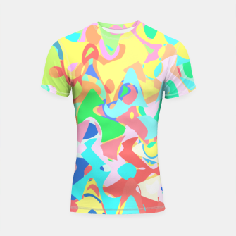 Thumbnail image of Chaotic vision, vibrant colors and shapes, funny mess Shortsleeve rashguard, Live Heroes