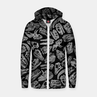 Paleontology Dream Dinosaur Fossil Skulls Pattern II Zip up hoodie thumbnail image