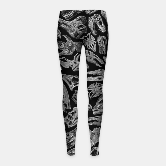 Paleontology Dream Dinosaur Fossil Skulls Pattern II Girl's leggings thumbnail image