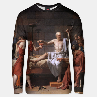 Thumbnail image of The Death of Socrates by Jacques Louis David Unisex sweater, Live Heroes