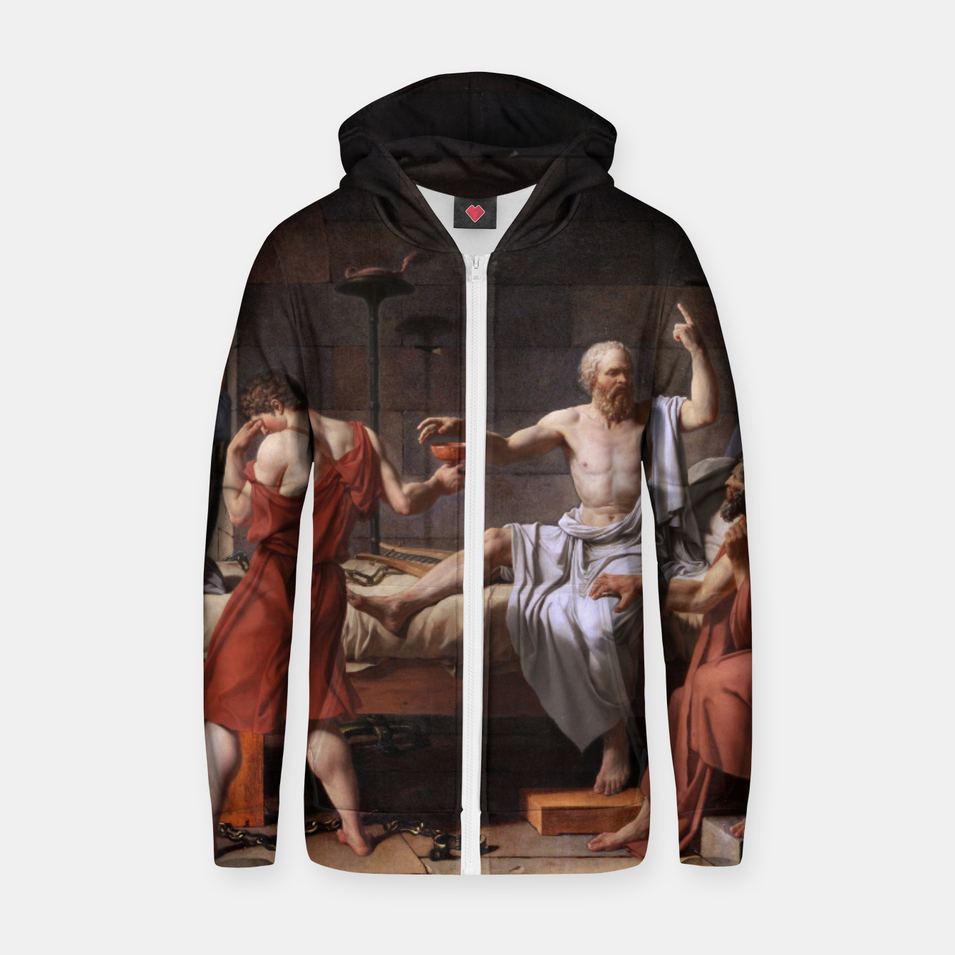 Image of The Death of Socrates by Jacques Louis David Zip up hoodie - Live Heroes