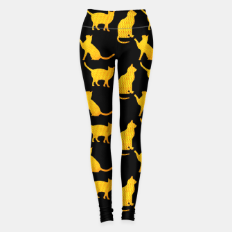 Golden cats-Black 1 Leggings thumbnail image