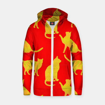 Thumbnail image of Golden cats-Red Sudadera con capucha y cremallera , Live Heroes