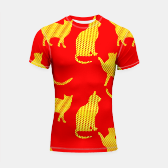 Thumbnail image of Golden cats-Red Shortsleeve rashguard, Live Heroes