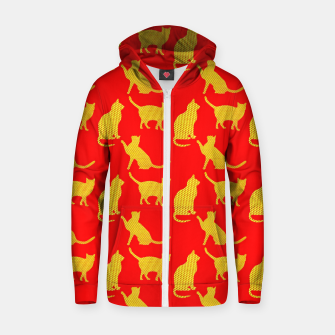 Thumbnail image of Golden cats-Red 1 Sudadera con capucha y cremallera , Live Heroes