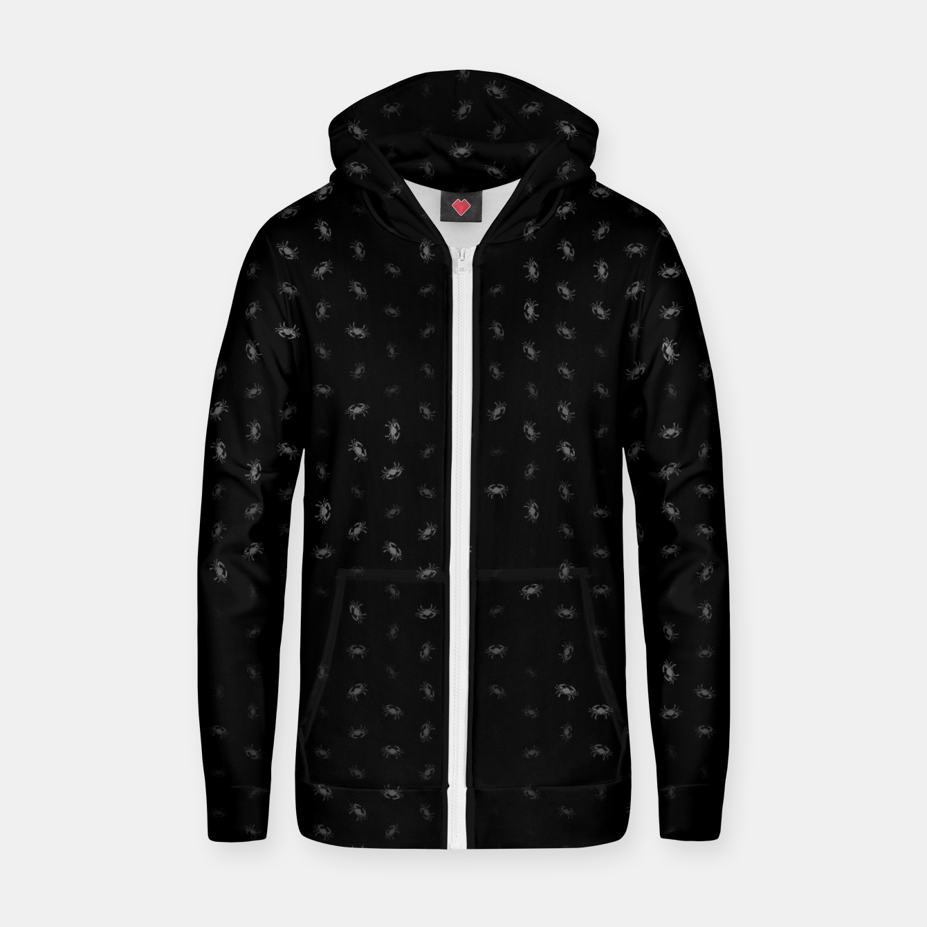 Image of cancer zodiac sign pattern bw Zip up hoodie - Live Heroes