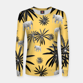 Palm Tree Elephant Jungle Pattern #4 (Kids Collection) #decor #art  Frauen sweatshirt obraz miniatury