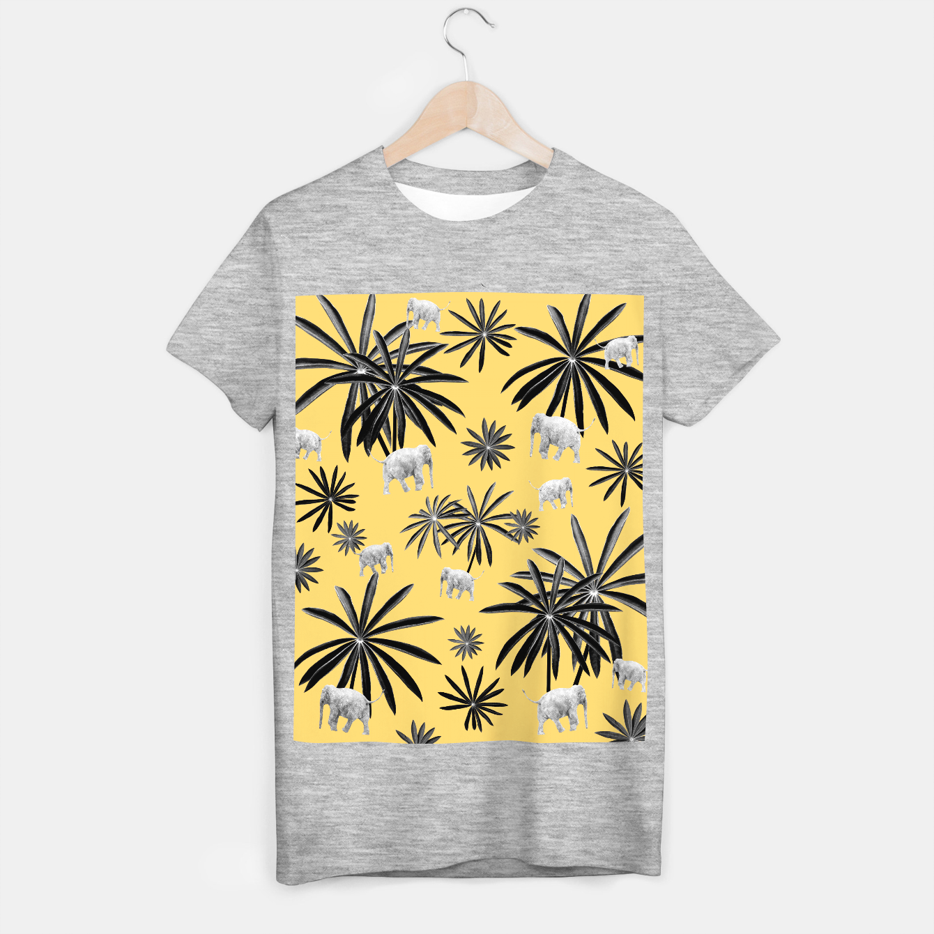 Zdjęcie Palm Tree Elephant Jungle Pattern #4 (Kids Collection) #decor #art  T-Shirt regulär - Live Heroes