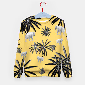 Palm Tree Elephant Jungle Pattern #4 (Kids Collection) #decor #art  Kindersweatshirt obraz miniatury