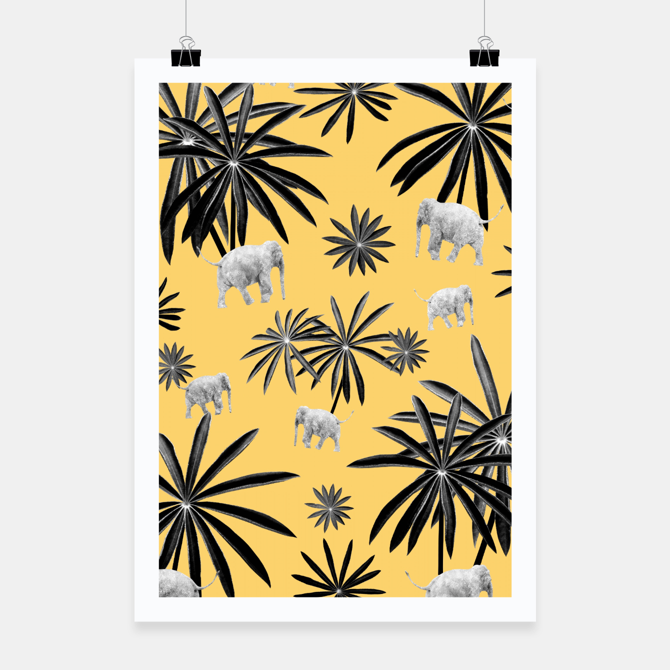 Zdjęcie Palm Tree Elephant Jungle Pattern #4 (Kids Collection) #decor #art  Plakat - Live Heroes