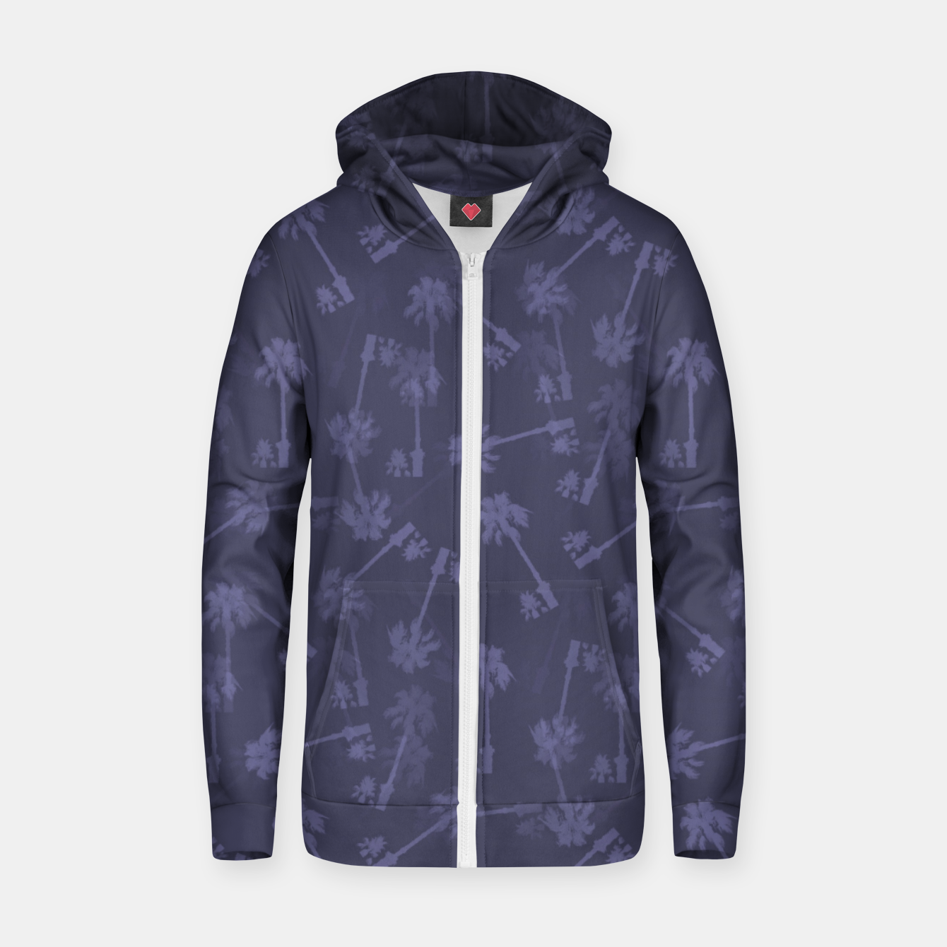 Image of Indigo blue Small palms pattern Zip up hoodie - Live Heroes