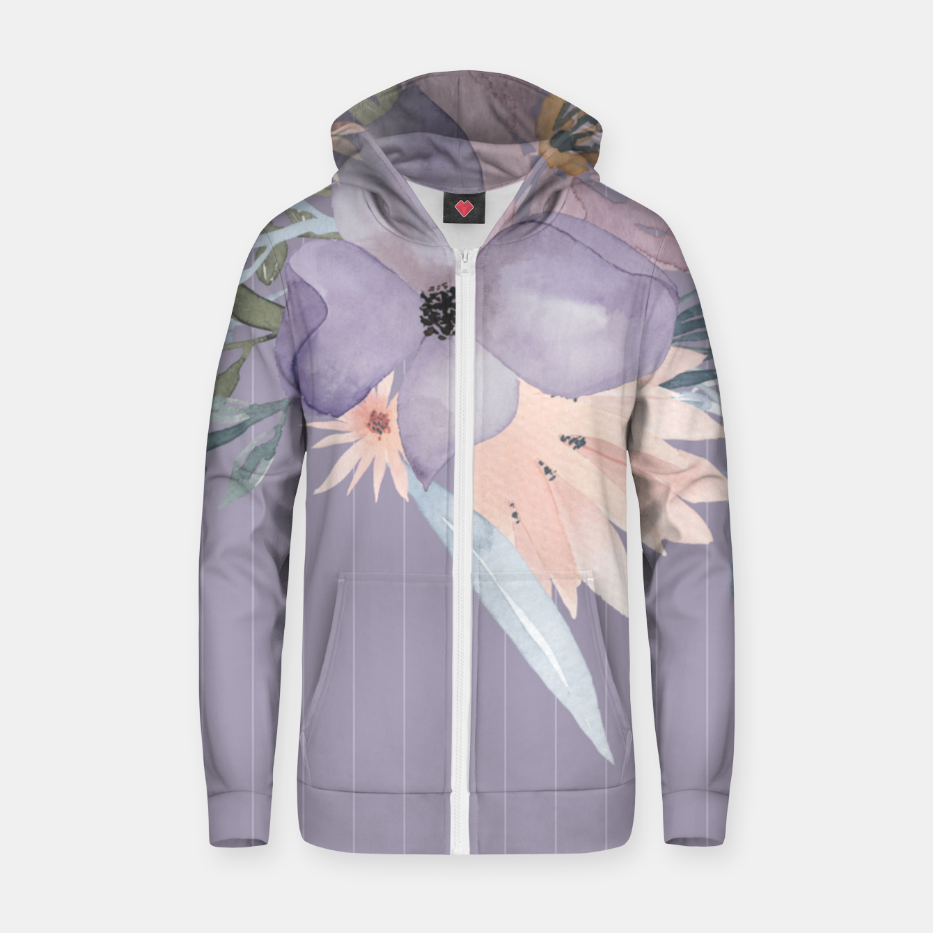 Image of Muted Pastel Watercolor Flowers and Stripes Zip up hoodie - Live Heroes
