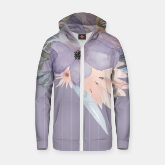 Thumbnail image of Muted Pastel Watercolor Flowers and Stripes Zip up hoodie, Live Heroes