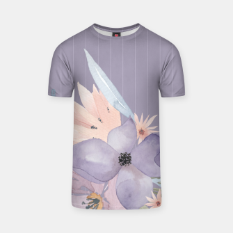 Thumbnail image of Muted Pastel Watercolor Flowers and Stripes T-shirt, Live Heroes
