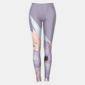 Thumbnail image of Muted Pastel Watercolor Flowers and Stripes Leggings, Live Heroes