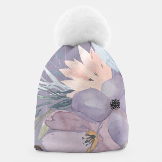 Thumbnail image of Muted Pastel Watercolor Flowers and Stripes Beanie, Live Heroes