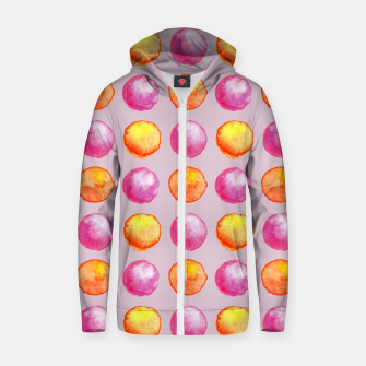 Thumbnail image of Juicy watercolour dots in pink and orange Zip up hoodie, Live Heroes