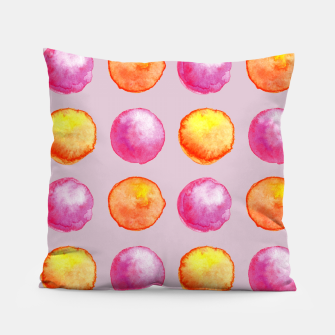 Thumbnail image of Juicy watercolour dots in pink and orange Pillow, Live Heroes