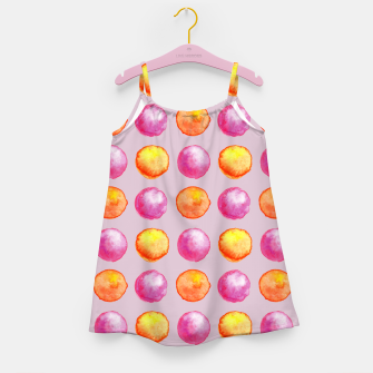 Miniatur Juicy watercolour dots in pink and orange Girl's dress, Live Heroes