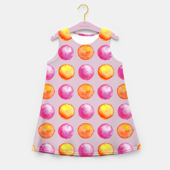 Miniatur Juicy watercolour dots in pink and orange Girl's summer dress, Live Heroes