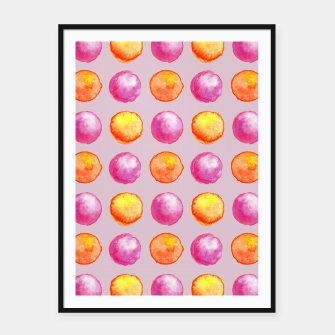 Thumbnail image of Juicy watercolour dots in pink and orange Framed poster, Live Heroes