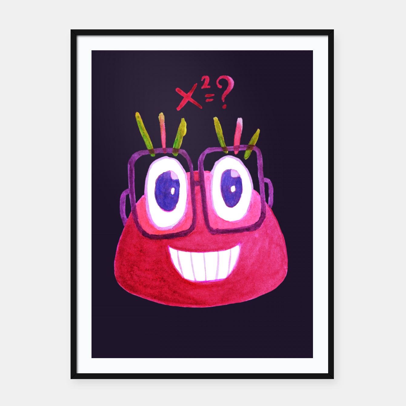 Image of Math Candy Cute Geek Character With Glasses Framed poster - Live Heroes