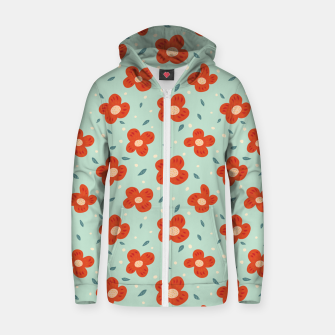 Miniaturka Simple Pretty Orange Flowers Pattern Zip up hoodie, Live Heroes