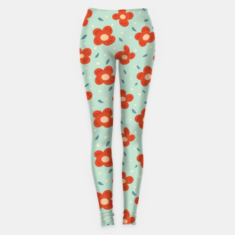 Miniatur Simple Pretty Orange Flowers Pattern Leggings, Live Heroes