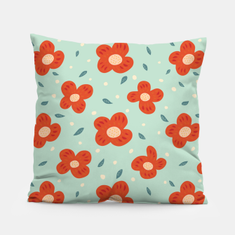 Miniaturka Simple Pretty Orange Flowers Pattern Pillow, Live Heroes