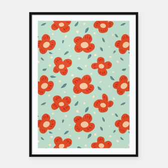 Miniaturka Simple Pretty Orange Flowers Pattern Framed poster, Live Heroes