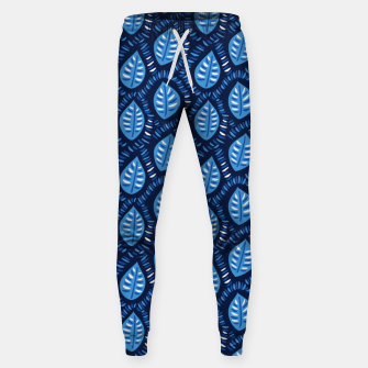 Thumbnail image of Decorative Blue Leaves Pattern Sweatpants, Live Heroes