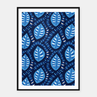 Thumbnail image of Decorative Blue Leaves Pattern Framed poster, Live Heroes