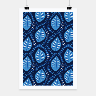 Thumbnail image of Decorative Blue Leaves Pattern Poster, Live Heroes