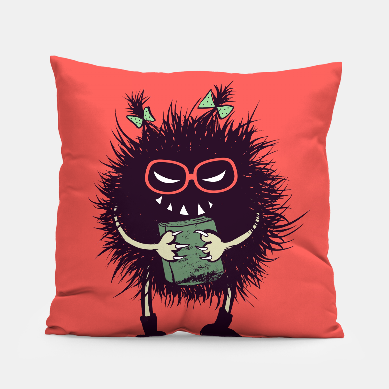 Image of Evil geek girl character with book Pillow - Live Heroes