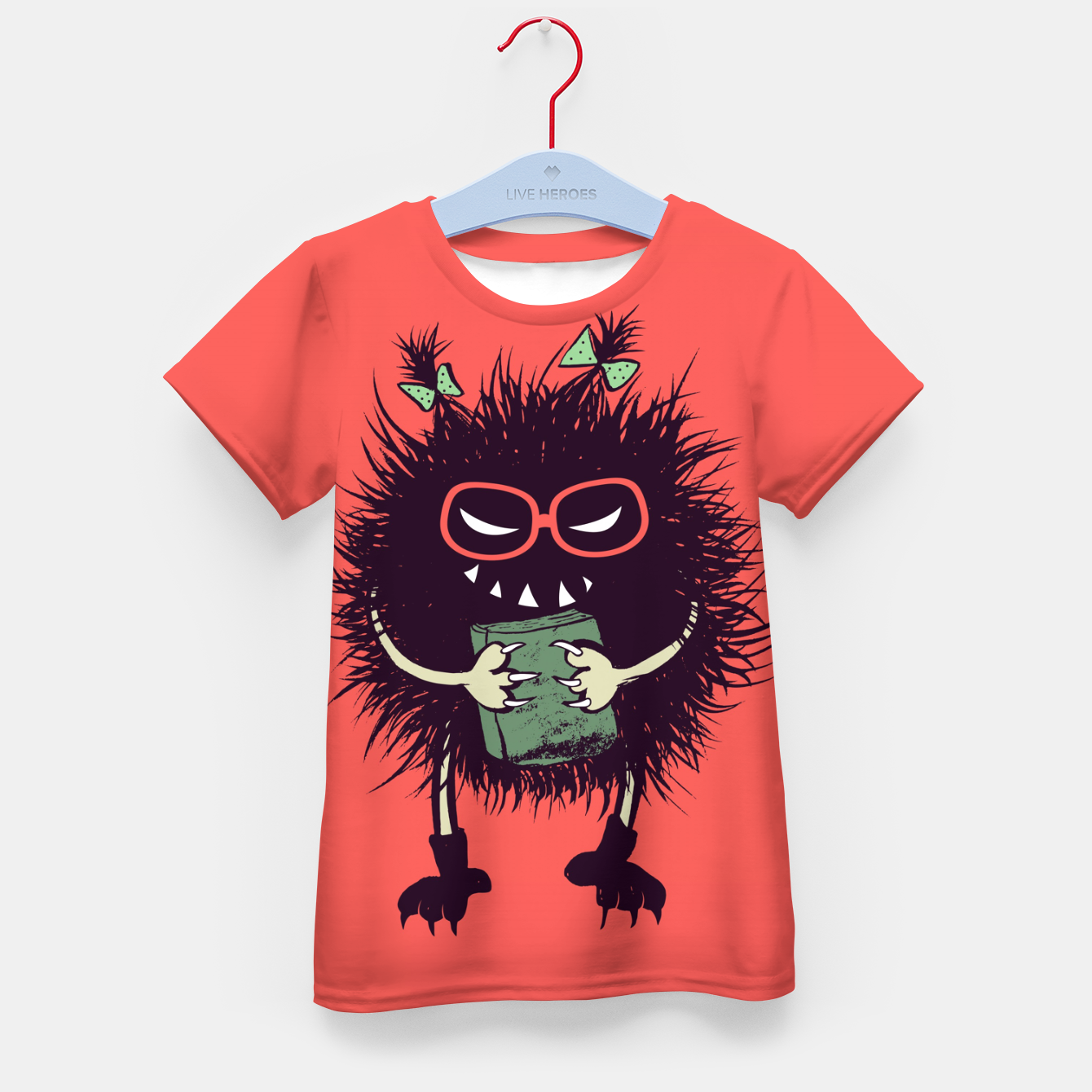 Image of Evil geek girl character with book Kid's t-shirt - Live Heroes