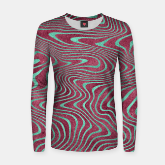 Thumbnail image of Pink and Teal twisted lines foil effect  Women sweater, Live Heroes
