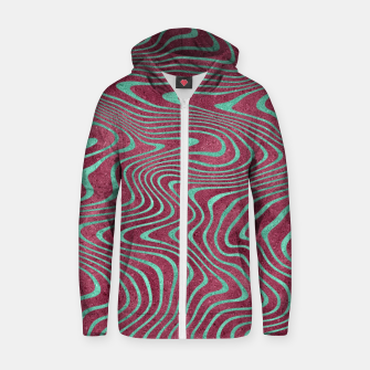Thumbnail image of Pink and Teal twisted lines foil effect  Zip up hoodie, Live Heroes