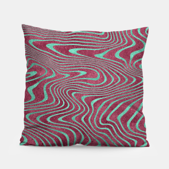 Thumbnail image of Pink and Teal twisted lines foil effect  Pillow, Live Heroes