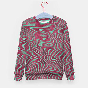 Thumbnail image of Pink and Teal twisted lines foil effect  Kid's sweater, Live Heroes