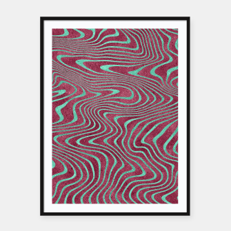 Thumbnail image of Pink and Teal twisted lines foil effect  Framed poster, Live Heroes