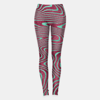 Thumbnail image of Pink and Teal twisted lines foil effect  Leggings, Live Heroes