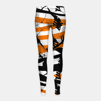 Thumbnail image of Floral Tiger Print Girl's Leggings, Live Heroes