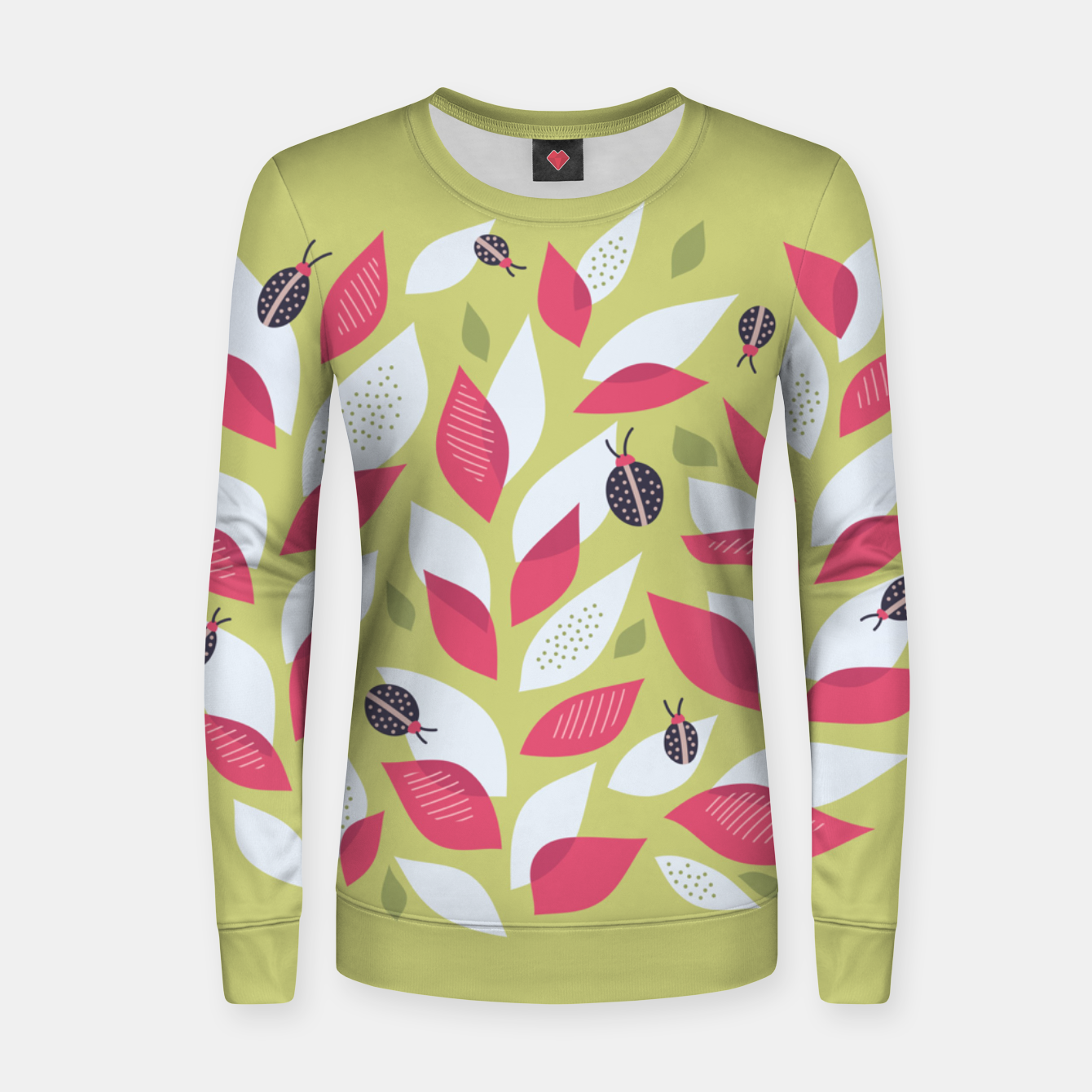 Image of Plant With White Pink Leaves And Ladybugs Women sweater - Live Heroes