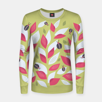 Plant With White Pink Leaves And Ladybugs Women sweater imagen en miniatura
