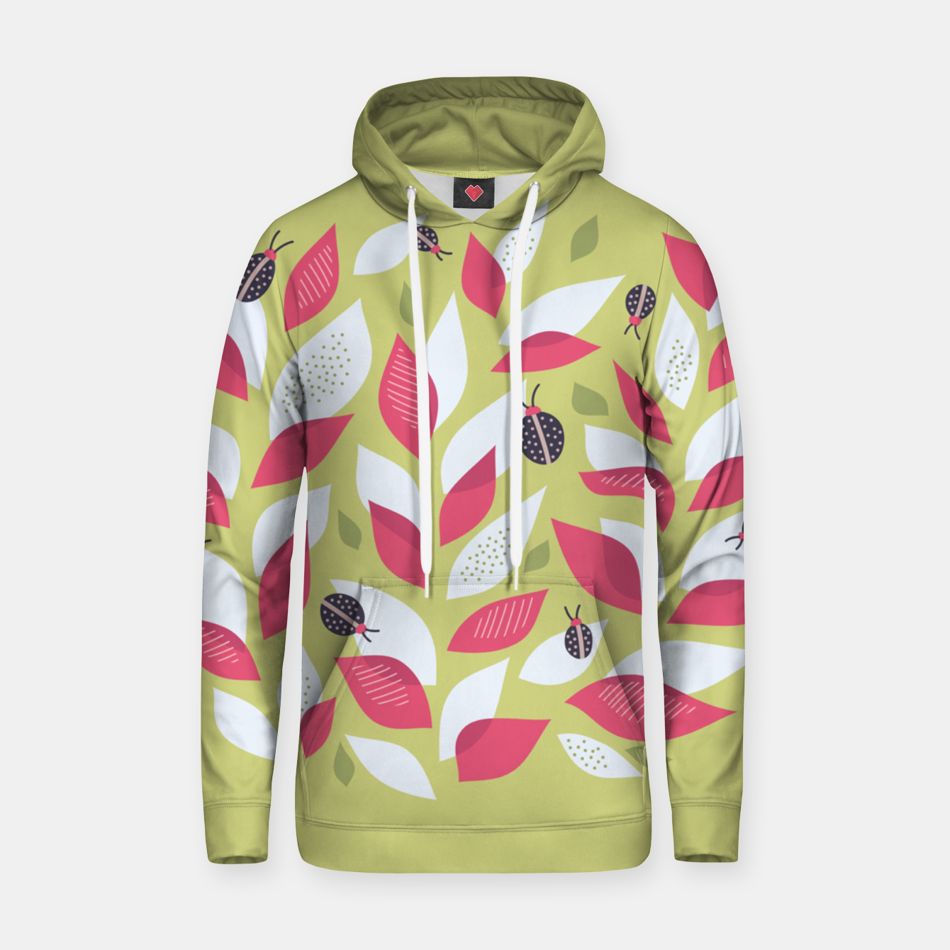 Image of Plant With White Pink Leaves And Ladybugs Hoodie - Live Heroes
