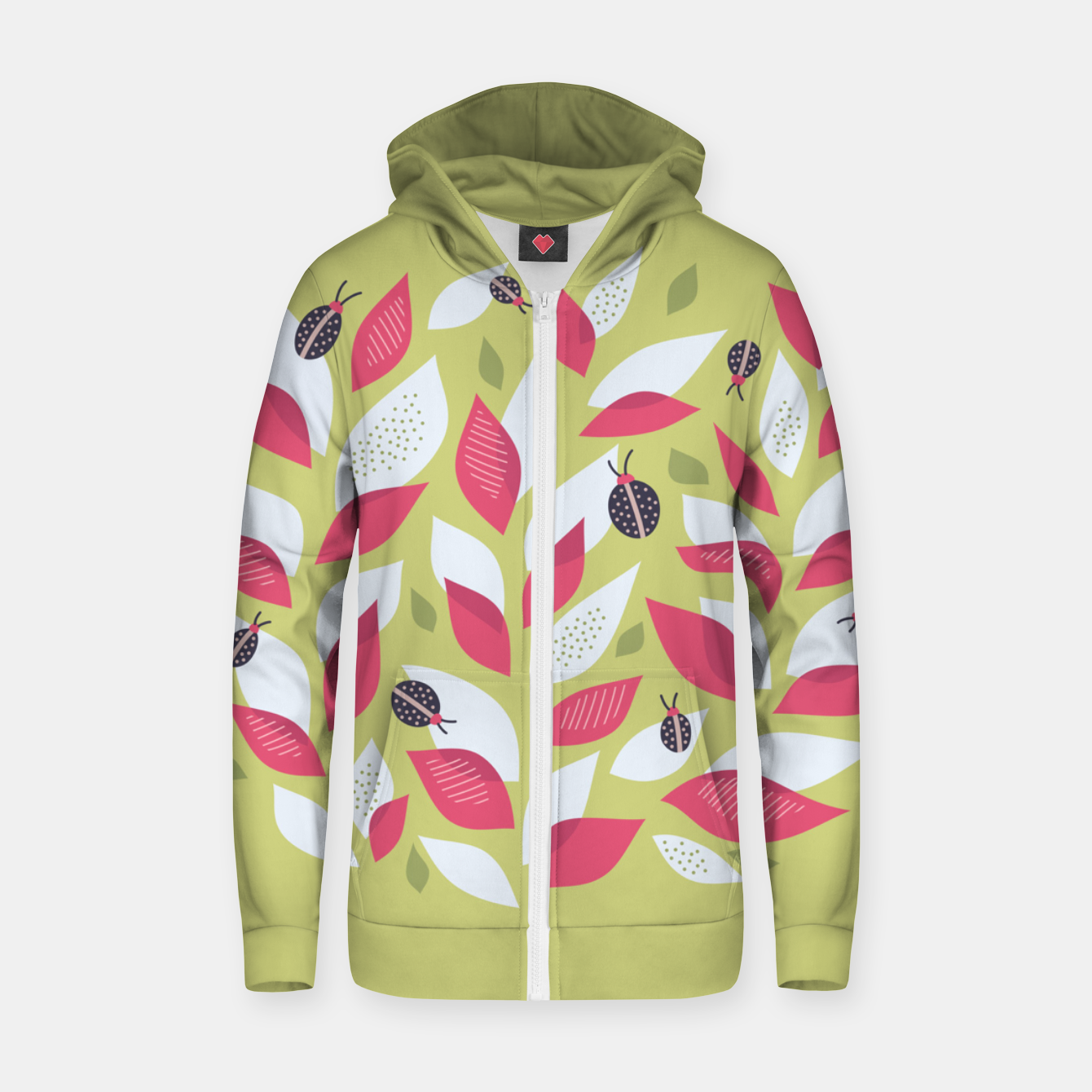 Image of Plant With White Pink Leaves And Ladybugs Zip up hoodie - Live Heroes