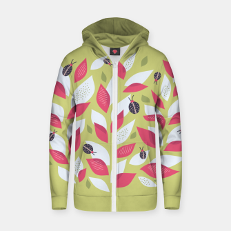 Plant With White Pink Leaves And Ladybugs Zip up hoodie Bild der Miniatur