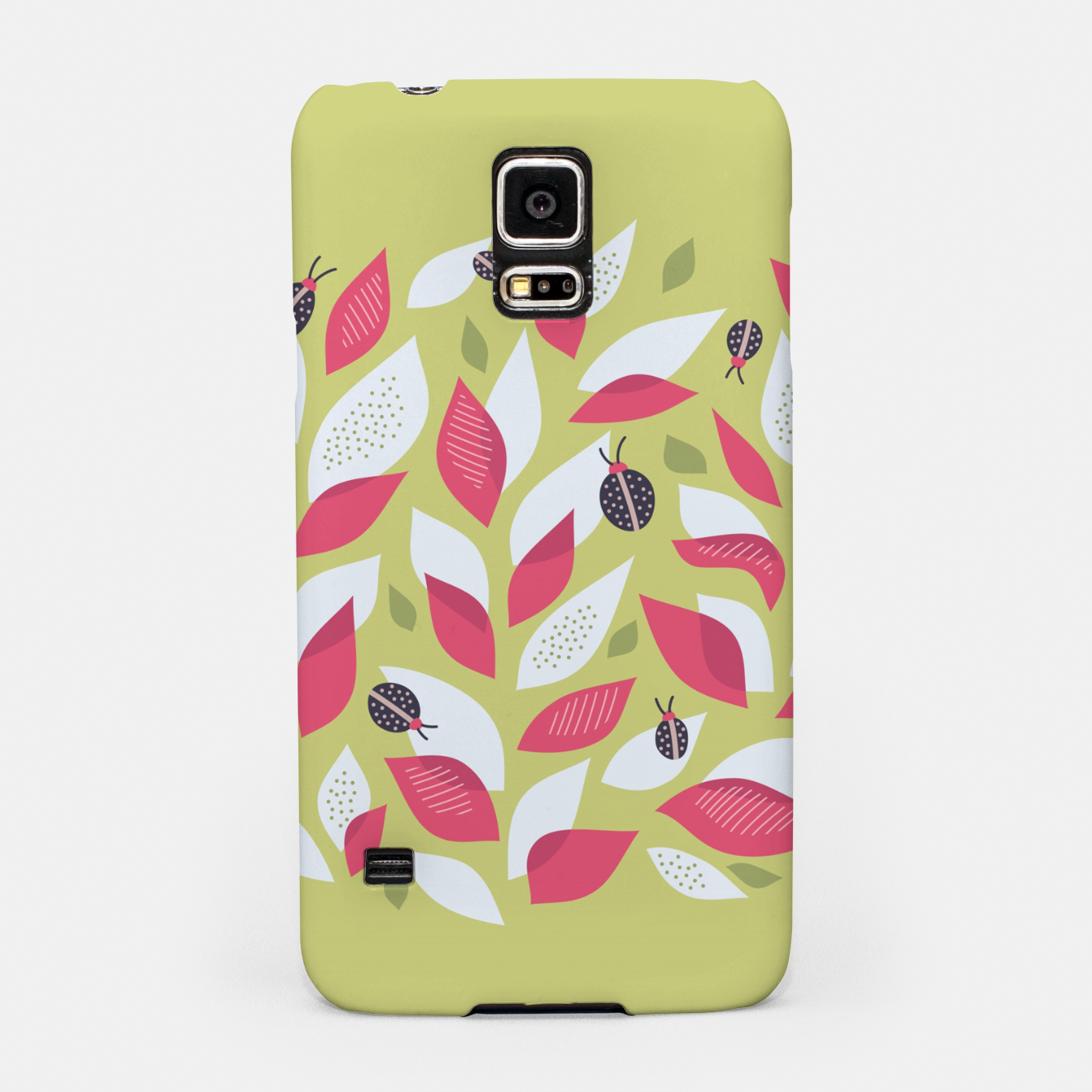 Image of Plant With White Pink Leaves And Ladybugs Samsung Case - Live Heroes